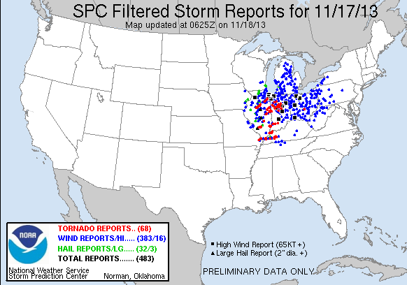 Filtered severe storm reports from SPC from 11/17/13 as of 0625z 11/18.
